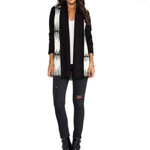 BB Dakota Black and Cream Long Cardigan